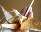 Special Offer : Two Large Origami Gold Crane Ornaments