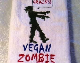 VEGAN ZOMBIE - What a concept - Embroidered Terrycloth Hand Towel - By Becky