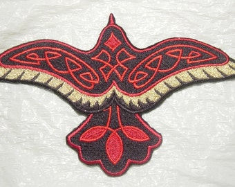 Beautiful CELTIC RAVEN with Red Knotwork -  Large Iron on Embroidered Patch Applique - 2 Sizes - Large and Extra Large - FREE U.S. Shipping