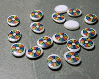 Vintage West German Color Wheel on White Oval Glass 10x8mm Flat Back Tiles/Cabochons (6)
