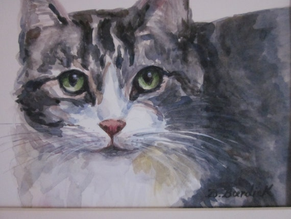 Tabby Cat 8 X 10 Matted Original Watercolor Painting