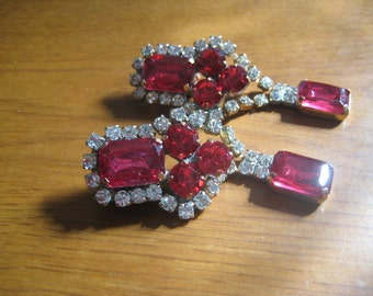 70s  Czechoslovakian Clip On Earrings With Rosy Red Rhinestones and Crystal Chatons