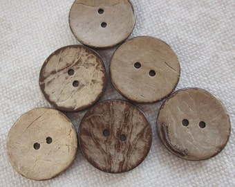 6 Large Dark Coconut Shell Buttons