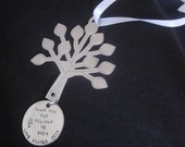 Teacher Tree Thank You For Helping Me Grow Tree Christmas Ornament handstamped onto circle Teacher, Nanny, Day Care, Baby Sitter Gift