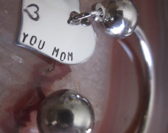 I love you Mom horseshoe Key Chain with hand stamped stainless steel heart Mothers day gift