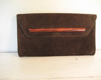 Vintage Large Brown Suede Clutch Style Purse with Acrylic Accent