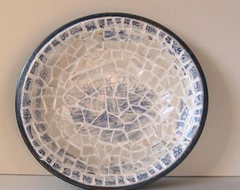 "Unique, Vintage Broken China, Ceramic Shards Cottage Chic Wood Bowl, ""Dutch Man & Woman"" Pattern"