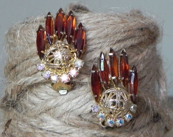 Vintage designer topaz and ab earrings gold prong set faceted marquise cut
