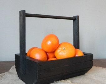 Vintage black trug berry basket slatted basket with handle organize store carryall