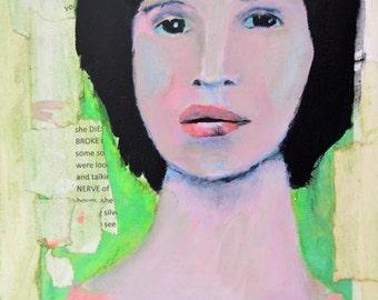 Digital Print - Woman Portrait Painting - Wall Art Prints - Green & Pink - Living Room Wall Decor