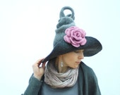 Witch hat wizard hat with pink flower felted from wool grey  CUSTOM MADE choose your own colors