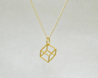Gold Cube Pendant and 18 inch Chain - Free shipping in the USA