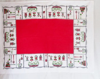 Vintage Tablecloth Red Vintage Kitchen Linens Mid Century Sun Glo Salt and Pepper