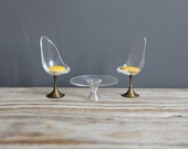 Mini Lucite & Brass Tulip Chairs and Table