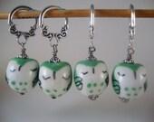 Green Owl Stitch Markers BIG Rings Bulky Knits Sleepy Owls Set of 4/SM162B