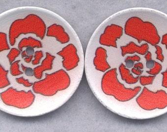 Orange Flower Wood Buttons Wooden Buttons 40mm Rose (1 5/8 inch) Set of 4/BT523