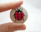 Miniature Hand Embroidered Button Badge - Ladybird