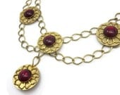 Statement Necklace - Festoon Necklace, Gold Tone, Red Gems, Medallions, Costume Jewelry