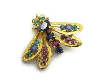 Gemstone Bug Brooch - Vintage Sapphire Pink Topaz Pendant