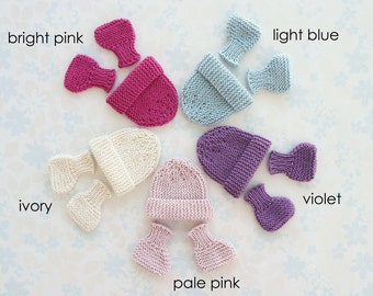 MICRO PREEMIE hat and booties set - 24 to 30 weeks, up to 3 lb -  5 colour choices (bright pink, light blue, violet, pale pink or ivory)