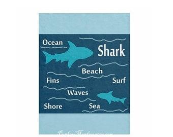 Shark fleece blanket choose size 30x40 50x60 60x80 sharks ocean sea beach decor boys toddler kids