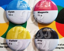 Pantone Inspired Colorful CMYK Pinback Button // Pack of 4 // Design