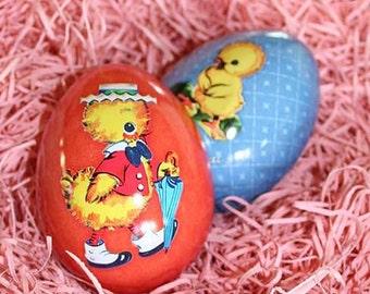 England Metal Easter Egg Box 2.75 Inch Nostalgic Craft Storage Dapper Chick  TEG 28