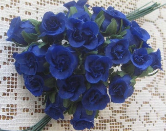 Fabric Millinery Flowers 24 Cobalt Blue Cupped Roses