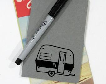 Tiny Camper Blank Ruled Journal, Travel Trailer, Travel Log, Vintage Camper, Caravan, Pocket Diary, Pocket Notebook, Moleskin Journal, Glamp