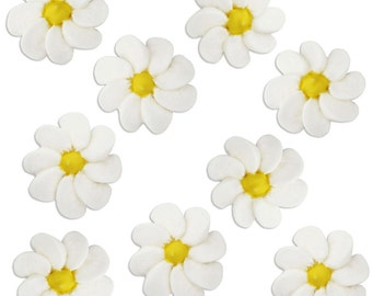 Daisy Icing Flowers - edible royal icing flowers for decorating cupcake, cakes, cookies, and cakepops