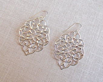 Silver Oriental Pendant Earrings
