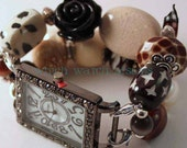 SALE Shabby Chic Neutrals.. Black, Brown and Cream Interchangeable Beaded Watch Band