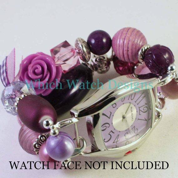 Purple Jumble.. Light and Dark Purple Chunky Interchangeable Beaded Watch Band, Acrylic