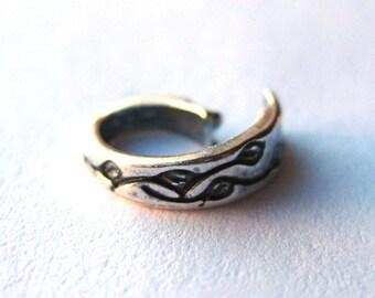 Antique Silver or Gold Locking Jump Ring Closure - Spirals or Leaf Design