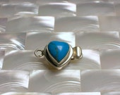 Clasp Sterling Silver Heart Shape Box Clasp with Turquoise Single Strand Small Jewelry Ending Jewellery Craft Supplies