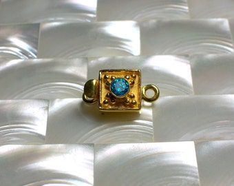 1pc Clasp Petite Gold Vermeil Blue Topaz Square Shape Single Strand Box Clasp Jewelry Ending Jewellery Craft Supplies Fancy