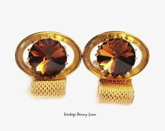 Vintage Cufflinks, Gold Topaz Rhinestone Glass Rivoli Cuff Links