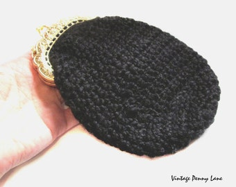 Vintage Crochet Pouch Purse / Black Handbag