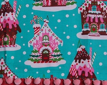 gingerbread house village candy christmas tea towel holiday