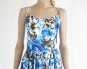 RESERVED..Vintage 50s Floral  Summer  Dress