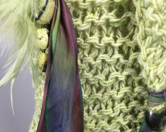 Flower Jade Beads, Feathers, and Hand-dyed Silk Ribbon on a Mindfulness Mantle in Lime Donegal Tweed Wool and Angora from Kilcar, Ireland