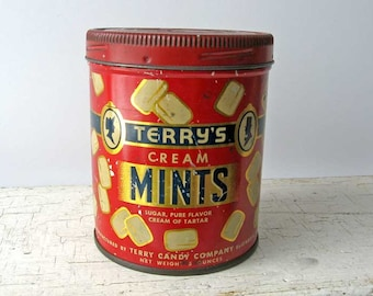 Vintage 1930's Terry's Cream Mints Candy Tin, Candy Images, Red, Gold, Blue, Advertising Tin, Terry Candy Co