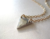 Pewter Downward Triangle Necklace with Gold Filled or Sterling Silver Chain
