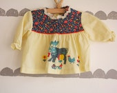 Sweet Vintage Two Piece Quilted Outfit 12 Months Cow and Chicken