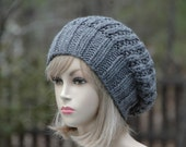 Knit Slouchy Beanie Hat,Gray Hat, Slouch Hat, Oversized Beanie, Chunky Knit Hat, Hand Knit, Womens Winter Hat - Chunky Reversible