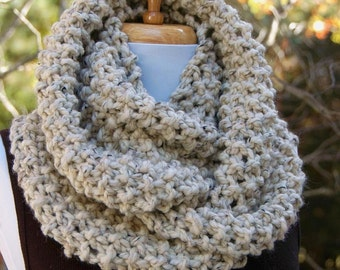 Knit Infinity Scarf, Chunky Knit Scarf, Infinity Scarf, Circle Scarf, Neutral Oatmeal Hand Knit Scarf, Women Scarf, Men Scarf, Winter Scarf