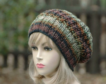 Woodland Knit Slouchy Hat, Slouchy Beanie Hat, Oversized Beanie, ChunkyHat, Hand Knit Womens Winter Hat, Reversible Slouch Hat, Green Brown