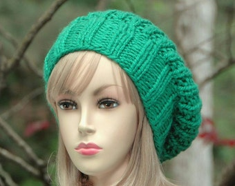 Green Slouchy Beanie, Knit Slouchy Hat, Reversible Hat, Slouch Beanie, Hand Knit Beanie Hat, Slouchy Beanie, Women's Slouchy Hat, Winter Hat