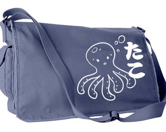 Octopus Bag kawaii messenger bag I Love Tako japanese bag cute school bag hipster travel bag cute japanese messenger bag crossbody bag
