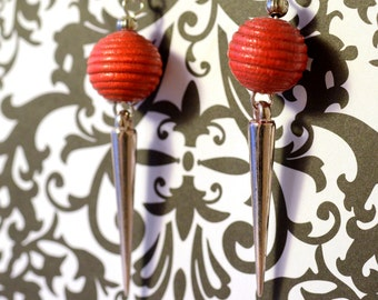 Silver Dangle Earrings with Red Bead and Long Siver Colored Spike, Lightweight, Handmade Jewelry, Fashion Trend, Style Accessories